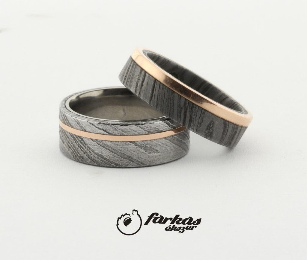 Damaszkuszi acél-vörös arany-titán karikagyűrűk T325.