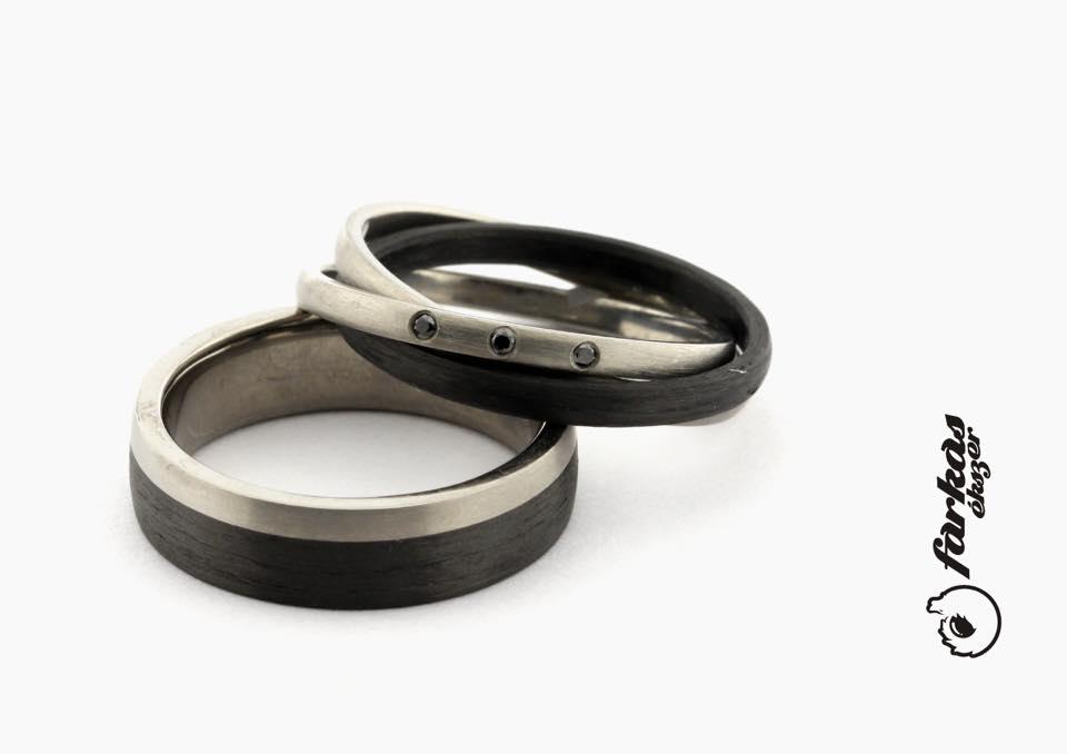 Fekete karbon-titán karikagyűrűk fekete gyémántokkal K067.