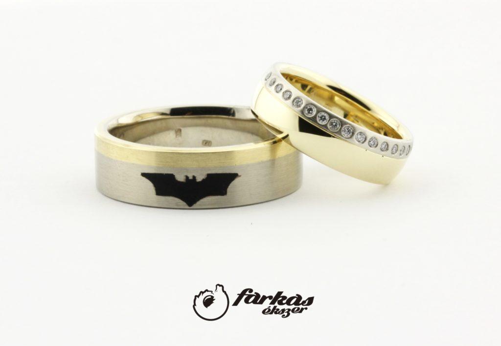 Arany karikagyűrűk kerámiával és gyémántokkal A160.