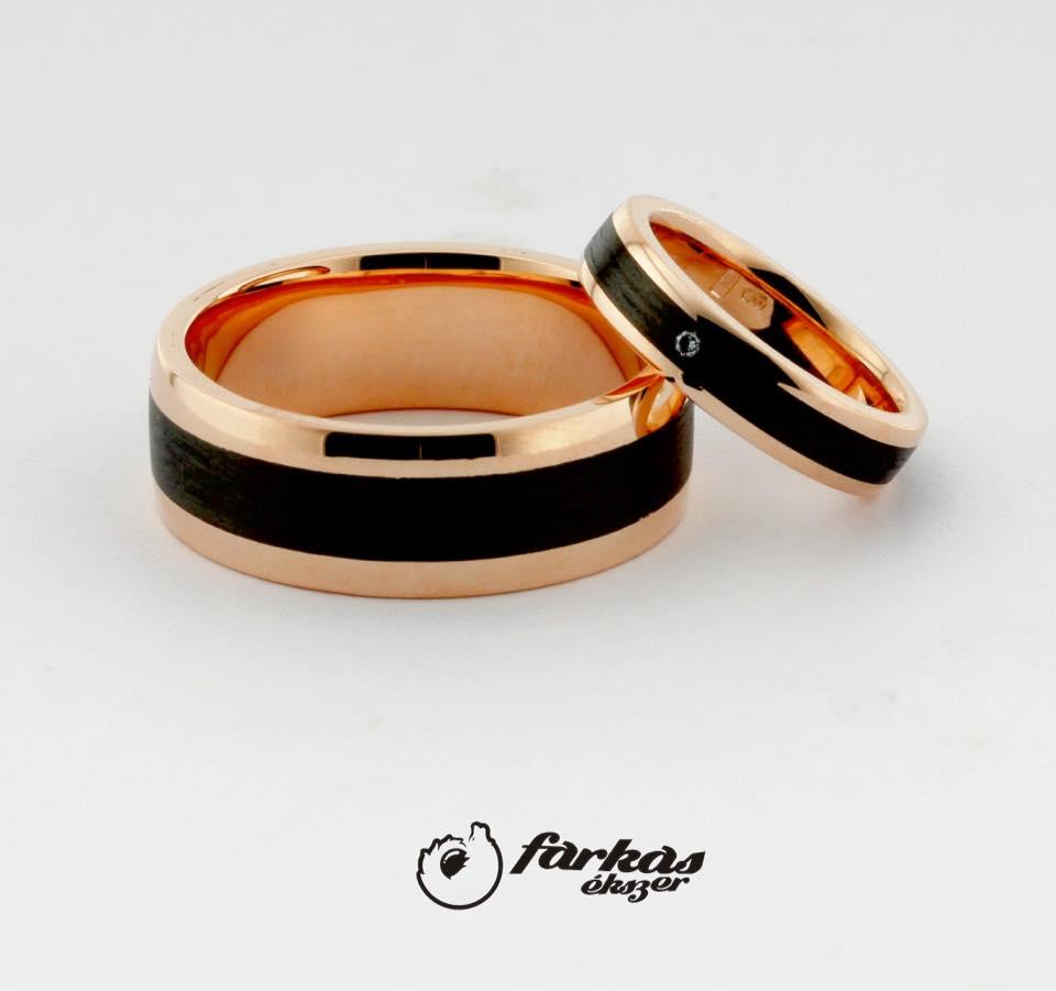 Arany és fekete karbon karikagyűrűk gyémánttal A161.