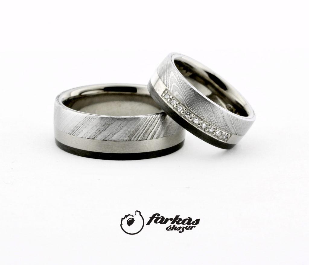 Fekete karbon-titán-damaszkuszi acél karikagyűrűk K070.